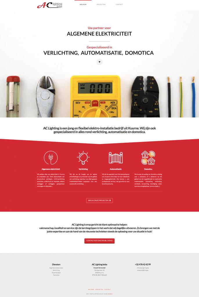 AC Lighting Kkuurne - Tevreden klant van BARNS KORTRIJK - website, e-shop, webshop, nieuwsbrief, bedrijfsfoto's kleine ondernemingen